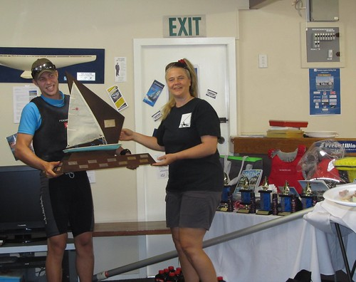 Daniel Barry, winner of RSA trophy, 1st Overall and Chantal Grass   by PLSC (Panmure Lagoon Sailing Club)