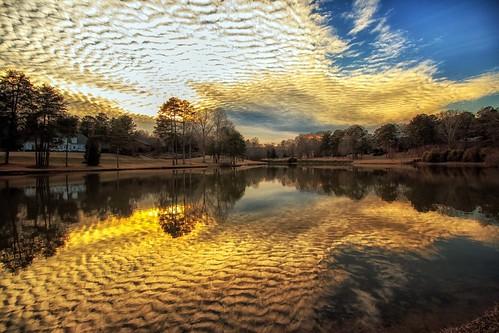 sunset lake reflections northcarolina inmybackyard goldenhour 2015 gastonia heatherlock dorameulman