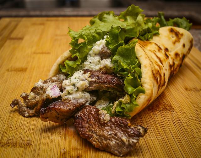 Grilled Lamb Gyros w/ House Made Tzatziki Sauce