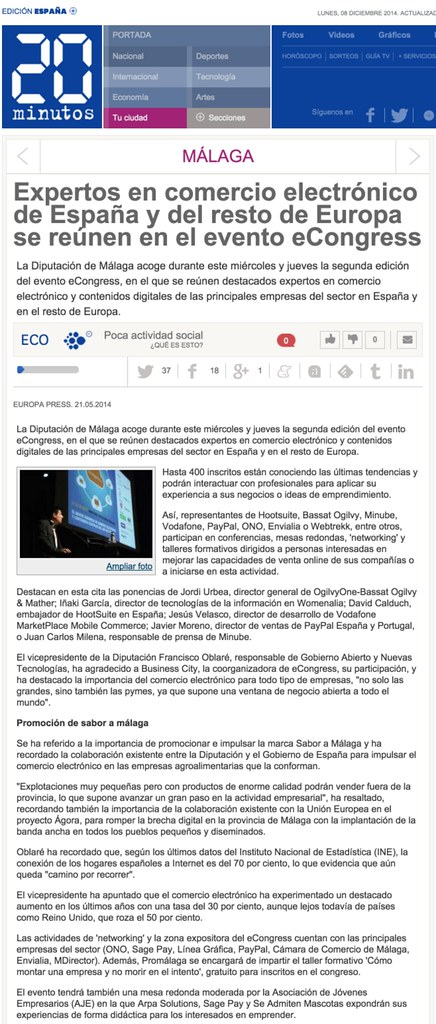 2014-05-21 20minutos.es Expertos en comercio electrónico de España y del resto de Europa se reúnen en el evento eCongress - David Martinez Calduch