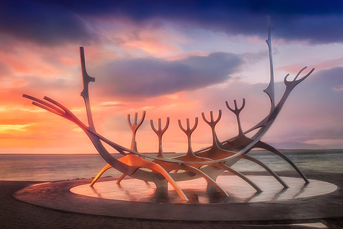 travel sunset vacation sculpture sun art iceland europe day cloudy reykjavik voyager viking solfar luishenriqueboucault