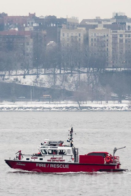 Jersey City Fire Department Rescue Boat on the Hudson River, New York City