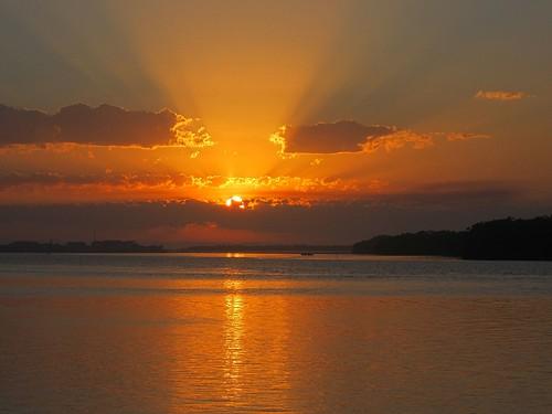 sky sun reflection water clouds sunrise river ballina richmondriver canonixus115hs