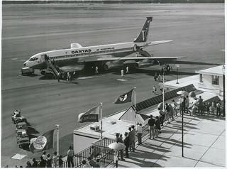 Christchurch International Airport, 707 Qantas Plane on tarmac
