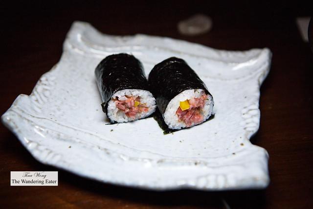 Wagyu and Uni Sushi Hand Roll
