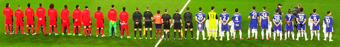 Paris Saint-Germain and Chelsea players line up for the Champions League anthem ahead of their clash at Stamford Bridge in the Champions League last 16 on 11 March 2015 | by Ben Sutherland