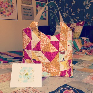 @quiltingfairy Karen I adore my Mendocino  bag! It's already earmarked as a new project bag and my DD has just been stopped from making off with it! Thank you hon it's lovely 💛💙💜