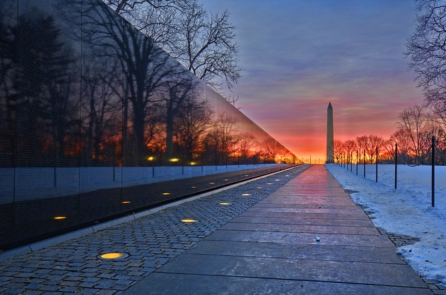 Vietnam Veterans Memorial & Washington Monument sunrise