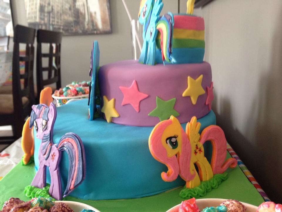 Wondrous Rainbow Dash My Little Ponies Birthday Cake Three Tiered Flickr Funny Birthday Cards Online Fluifree Goldxyz