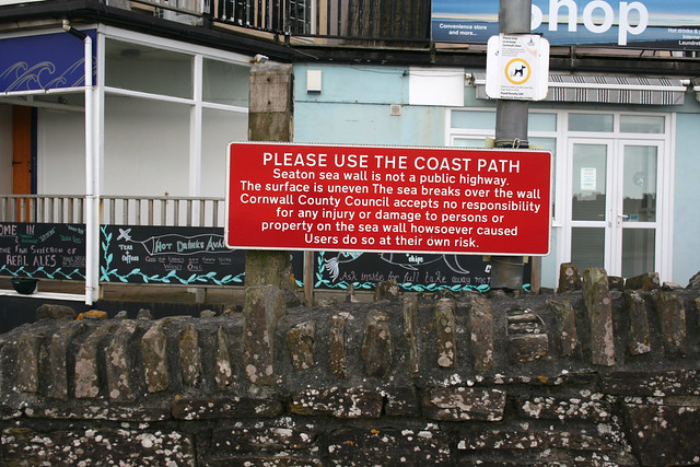Warning notice at Seaton