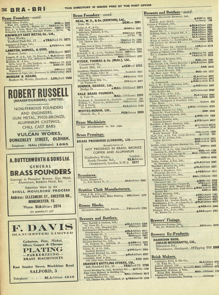 Manchester Classified Telephone Directory 1955 - 'Brewers … | Flickr