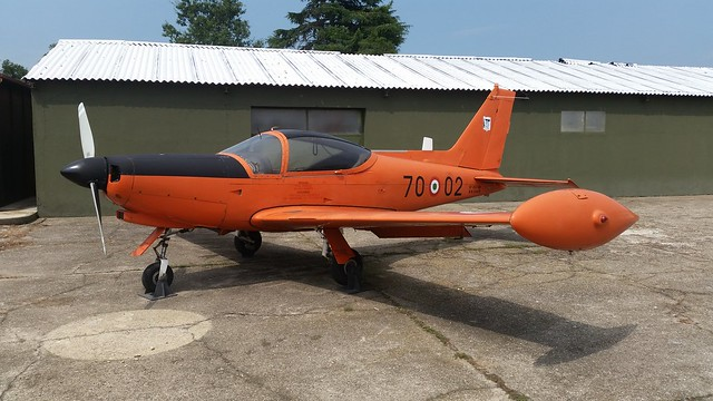 SF-260AM MM54419/70-02 ex 70-Stormo, Aeronautica Militare/ Italian Air Force. Preserved, Cameri Airbase, Italy. 27 July 2016.