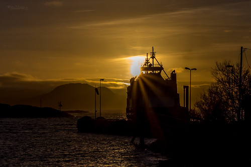 sunset sea silhouette norway ferry nordland northernnorway
