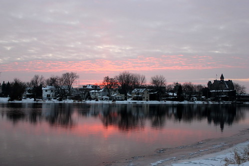 pink winter sunset sky ontario reflection water landscape town mississippiriver almonte mississippimills