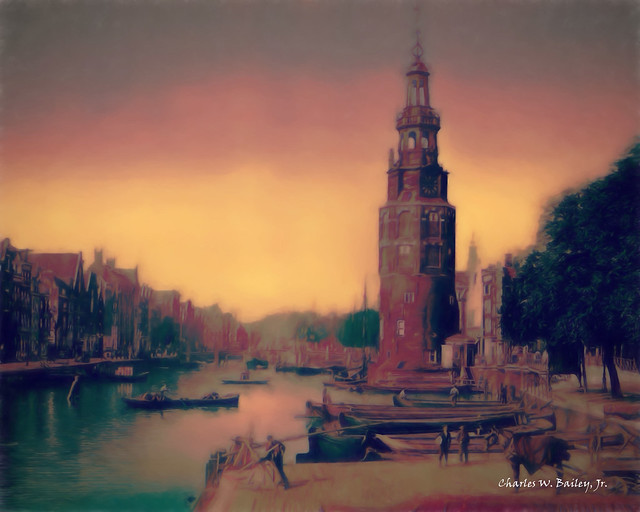 Digital Pastel Drawing of the Oude Schans Canal in Amsterdam by Charles W. Bailey, Jr.