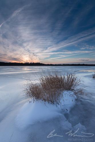 winter sunset lake snow ice frozen newjersey unitedstates nj oceancounty 2015 singhray eagleswood darylbenson staffordforgewma reverse9ndgrad