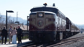 Napa Valley Wine Train being boarded at the Depot
