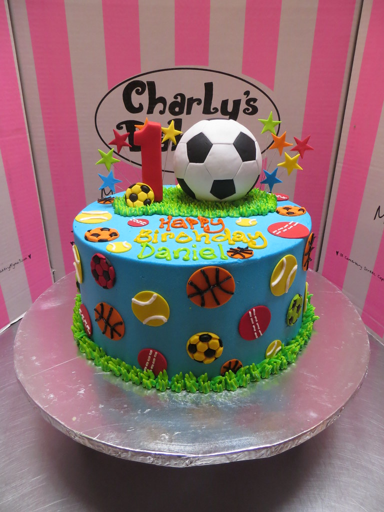 Astonishing Sports Themed Birthday Cake With A 3D Fondant Soccer Ball Flickr Personalised Birthday Cards Veneteletsinfo