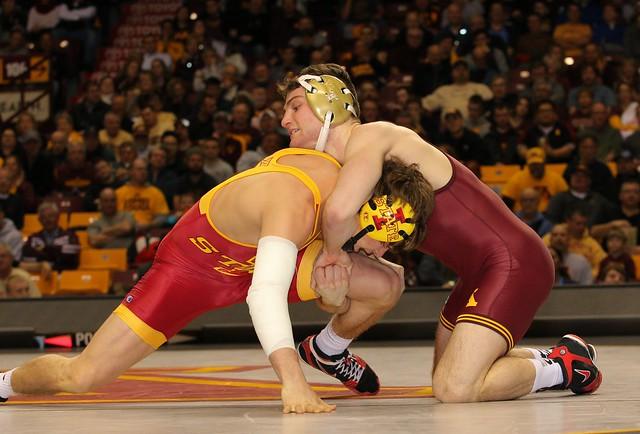 149 - #16 Jake Short (Minnesota) fall Dante Rodriguez (Iowa State) 1:46. Photo by Mark Beshey.