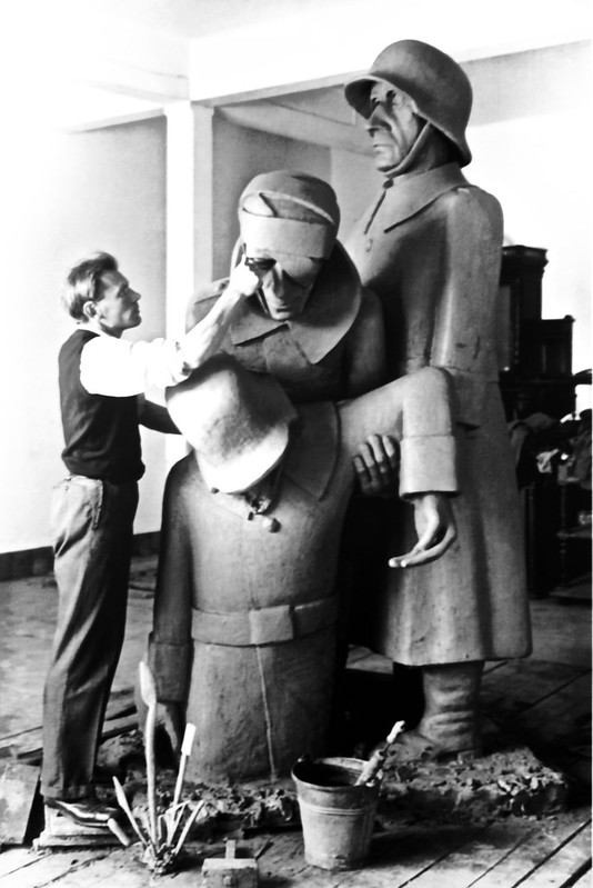 Hein Semke's at work (Sculpture about World I): Camaraderie in defeat.