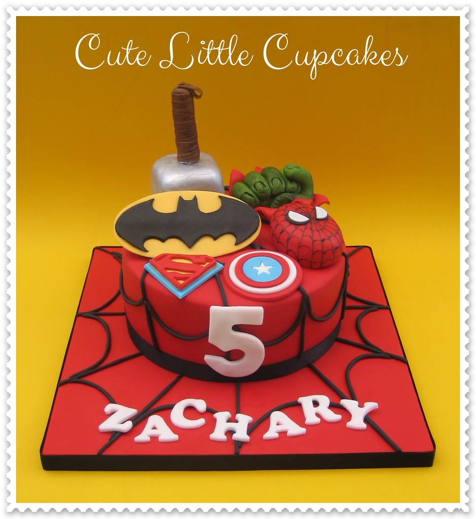 Fine Superheroes Birthday Cake Heidi Stone Flickr Personalised Birthday Cards Veneteletsinfo