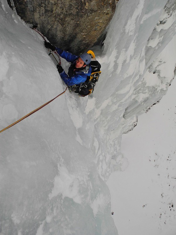 Technical ice above the Reschenpass. Climber: Darren Sheppard