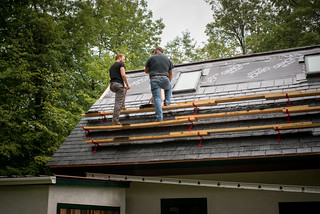 Tyler Consulting with Dan the Roofer on Slate Roof | by goingslowly