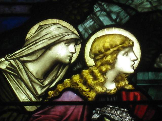 Detail of the Marys in the John Pigdon Memorial Stained Glass Window of the Marys and two Angels of the Lord at Jesus' Tomb; St Jude's Church of England - Corner of Lygon, Palmerston and Keppel Streets, Carlton