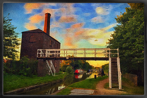phototoaster exposergl painterly iphoneography iphone365 iphone narrowboat coventry hawkesburyjunction suttonstop plant trees water bridge canal serene photoborder outdoor brushstroke