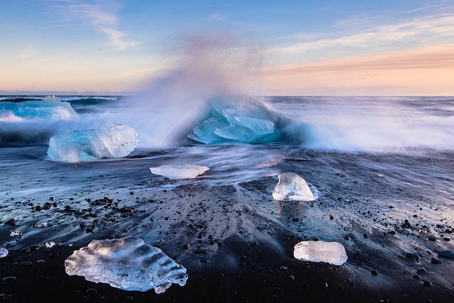 Waves crashing on ice