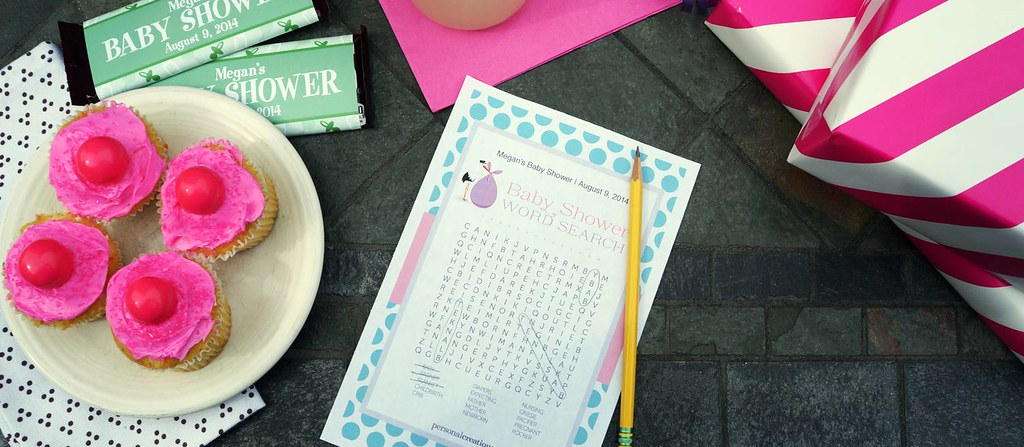 baby shower games and with personalized candy wrappers and