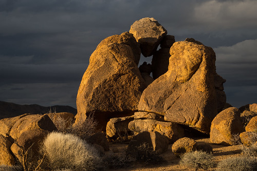 Rock Formation Glows with Sunset Light | by Joshua Tree National Park