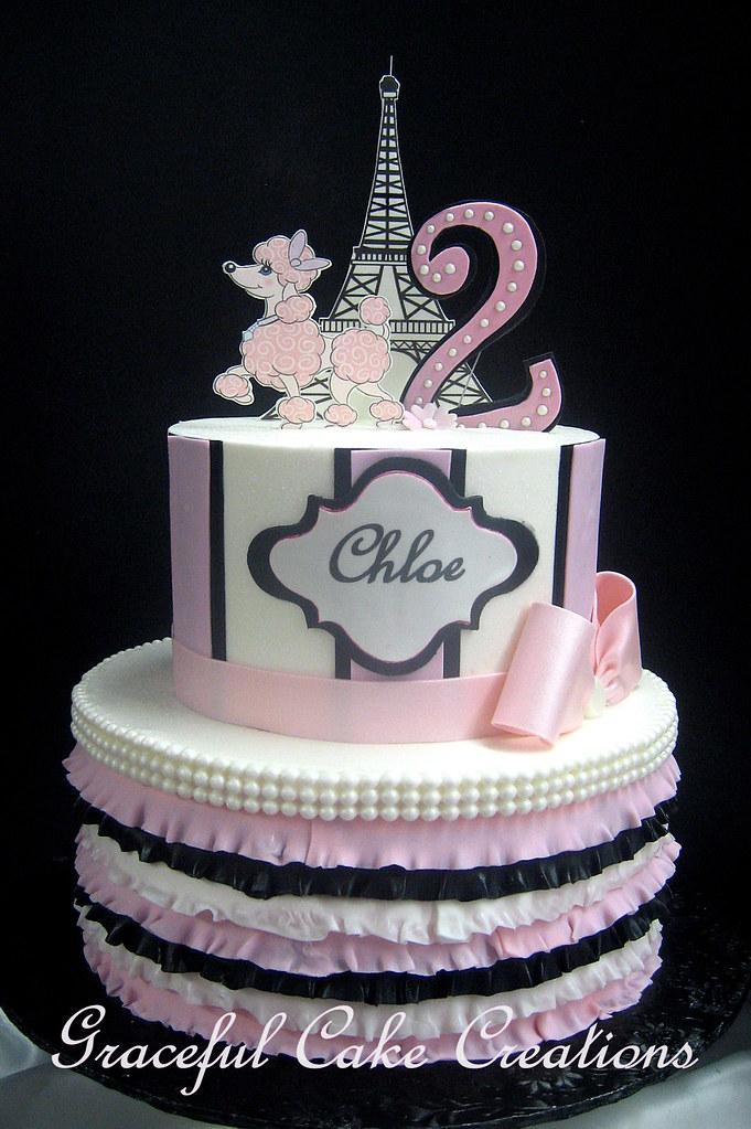 Admirable Pink Poodle In Paris Birthday Cake Grace Tari Flickr Funny Birthday Cards Online Aeocydamsfinfo