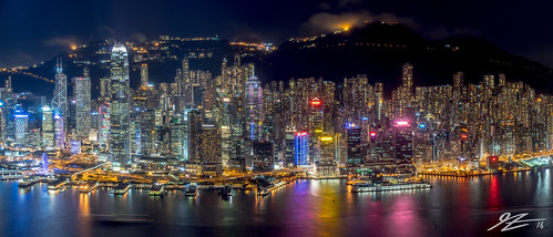 hong kong island china central wan chai sheung water reflection cityscape landscape skyline city night evening long exposure sky100 international commerce centre icc panorama buildings skyscraper towers mountain sony a7r mount austin victoria peak sel55f18z zeiss 55mm