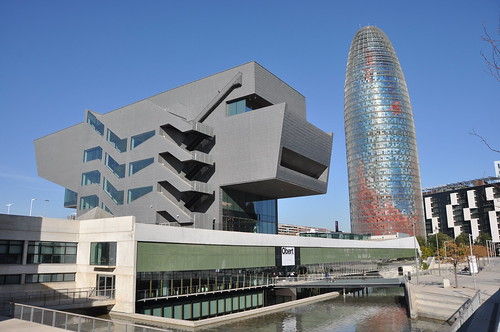 Barcelona. Design Museum. MBM (Martorell-Bohigas-Mackay-Capdevila-Gual) architects. 2001-2014. To the right, Torre AGBAR, Jean Nouvel architect (1999-2005) | by Catalan Art & Architecture Gallery (Josep Bracons)