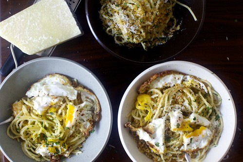 spaghetti pangrattato with crispy eggs | by smitten kitchen