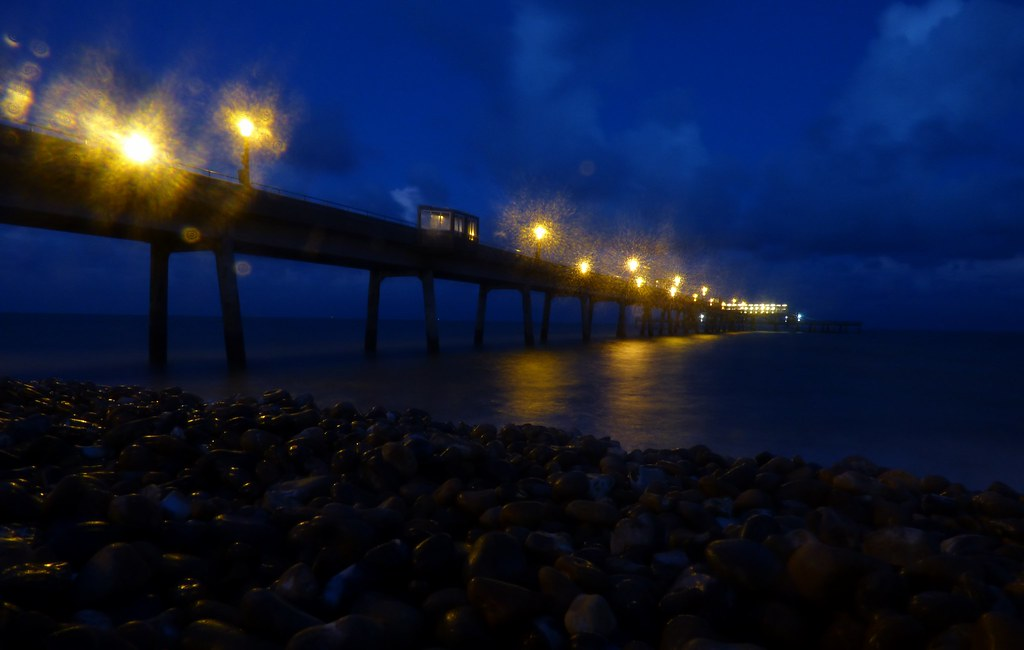 DEAL PIER AT NIGHT WITH RAINDROPS