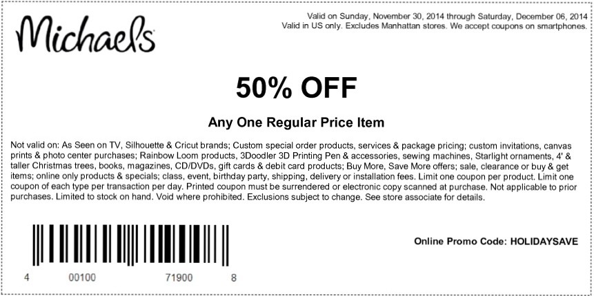 michael coupon 50 off