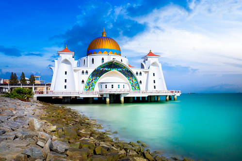 architecture asia beach blue building city cloud day dome floating historical islam islamic landmark landscape malacca malaysia masjid melaka mosque muslim outdoor pulau religion religious scene scenery sea selat sky spiritual strait symbol tour tourism unesco view white my