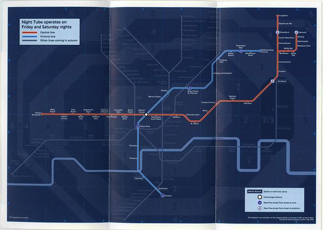 August 2016 Night Tube Underground leaflet map