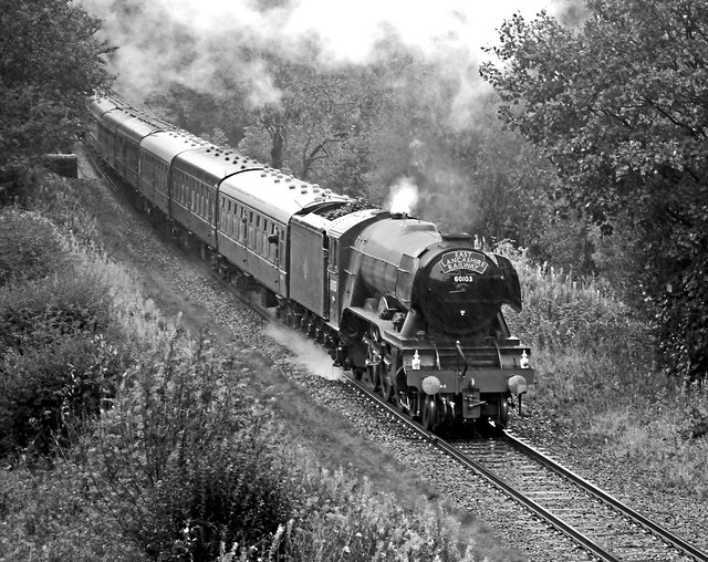 60103 - Flying Scotsman at Ewood Bridge. Mono.