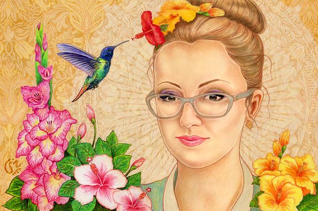 A girl with hummingbird