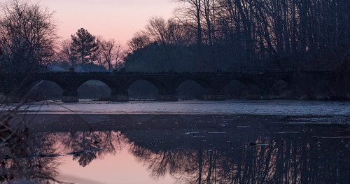 bridge lake cold reflection ice water sunrise river pond foxhill