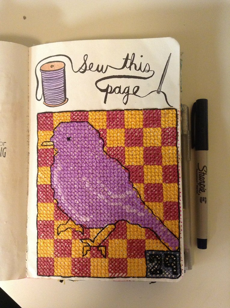 image   Wreck this journal - sew this page! Birdie cross ...  Wreck This Journal Sew This Page