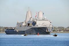 USS San Diego (LPD 22) returns to its homeport of Naval Base San Diego, Feb. 25. (U.S. Navy/MC1 Rosalie Chang)