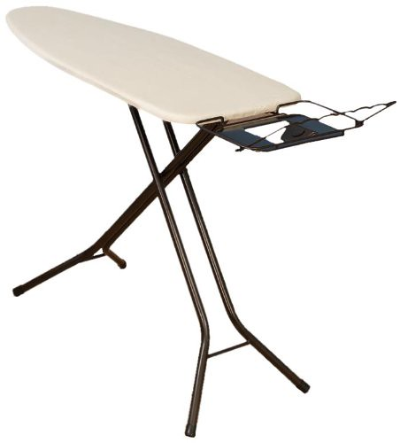 Household Essentials Fibertech Mega Wide Top Bronze Finish 4-Leg Ironing Board with Natural Cotton Cover Reviews