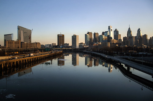 city morning winter urban usa reflection philadelphia skyline america sunrise frozen cityscape unitedstates pennsylvania wideangle bluesky clear pa metropolis philly metropolitan 215 southstreetbridge schuylkillriver cityofbrotherlylove