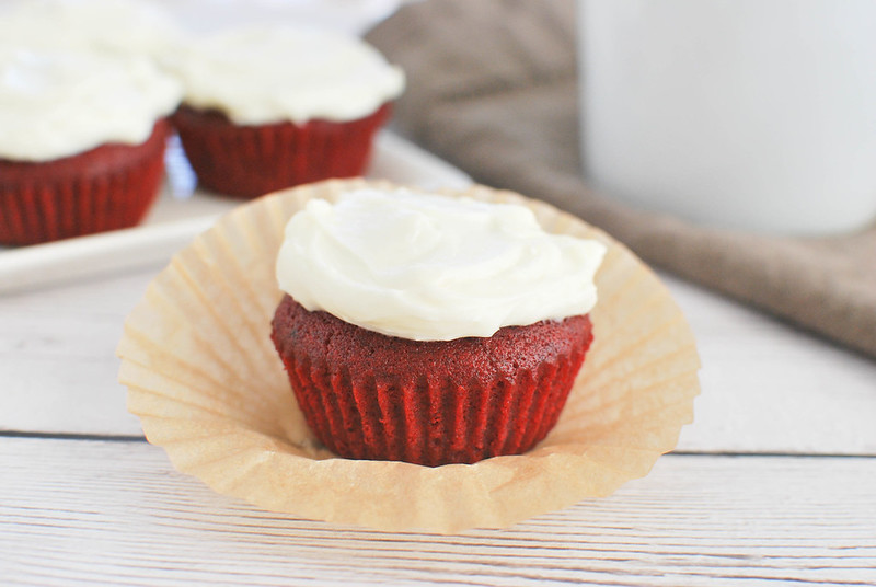 Small Batch Red Velvet Cupcakes - only makes 4 cupcakes! Moist delicious red velvet cupcakes with cream cheese frosting.