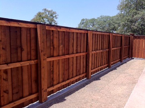 Board on board stained cedar fence with top cap, trim and boxed posts.  Fort Worth, Tx. | by buzzcustomfence