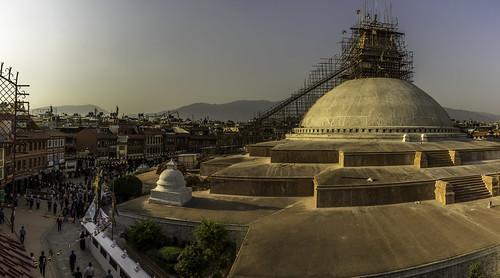 nepal stupa travel sunset backpacking construction rebuilding